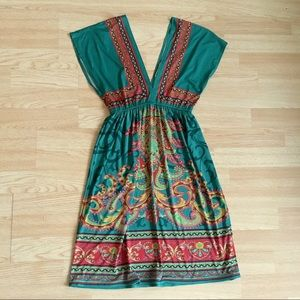 Flying Tomato Deep V-neck Boho Paisley Green Dress